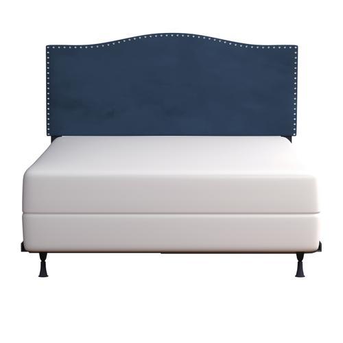 Kiley Upholstered Full/queen Headboard With Frame, Blue Velvet