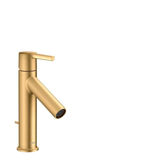 Brushed Brass Single lever basin mixer 100 CoolStart with lever handle and pop-up waste set