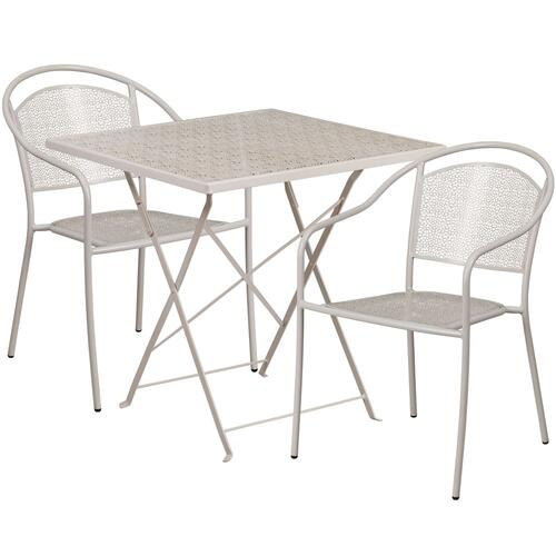 28'' Square Light Gray Indoor-Outdoor Steel Folding Patio Table Set with 2 Round Back Chairs
