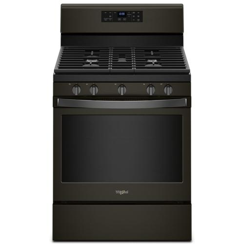 Whirlpool - 5.0 cu. ft. Freestanding Gas Range with Center Oval Burner Black Stainless