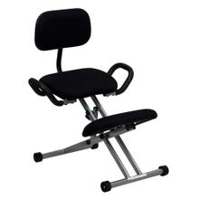 Ergonomic Kneeling Chair with Back and Handles in Black Fabric