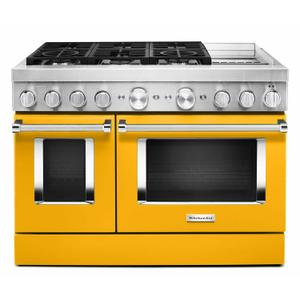 KitchenAidKitchenAid® 48'' Smart Commercial-Style Dual Fuel Range with Griddle - Yellow Pepper