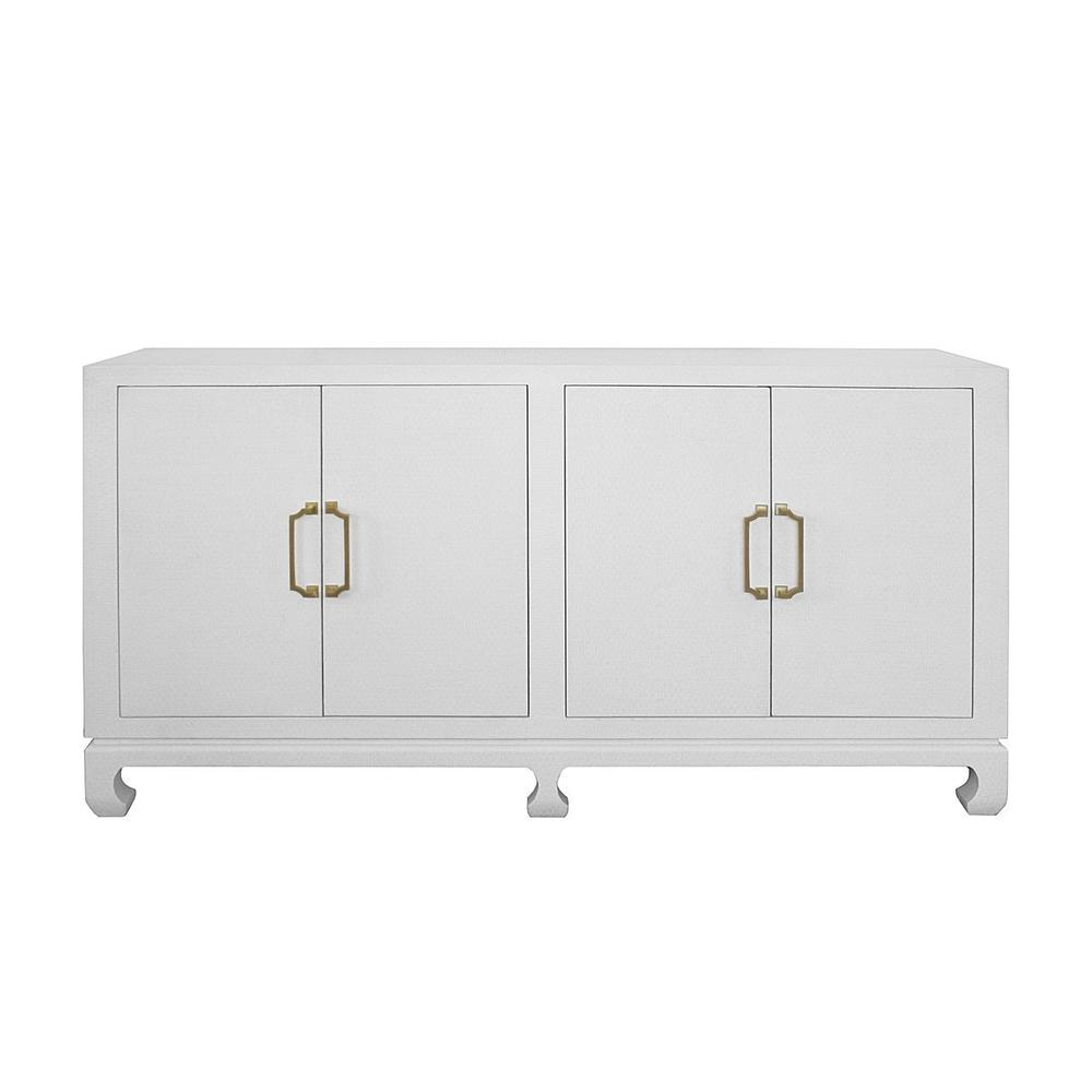 The Sophisticated Silhouette, Natural Texture, and Neutral Finish Ensure the Four Door Drayton Buffet Will Remain A Modern Classic for Generations. Thoughtfully Designed With an Asian Inspired Chow Leg Base, White Basketweave Grasscloth, Adjustable and Removable Shelving, and Antique Brass Pagoda Hardware. an Elegant and Timeless Showpiece!