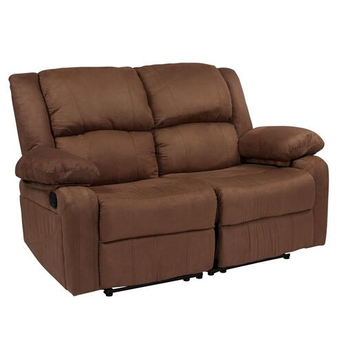 Chocolate Brown Microfiber Loveseat with Two Built-In Recliners