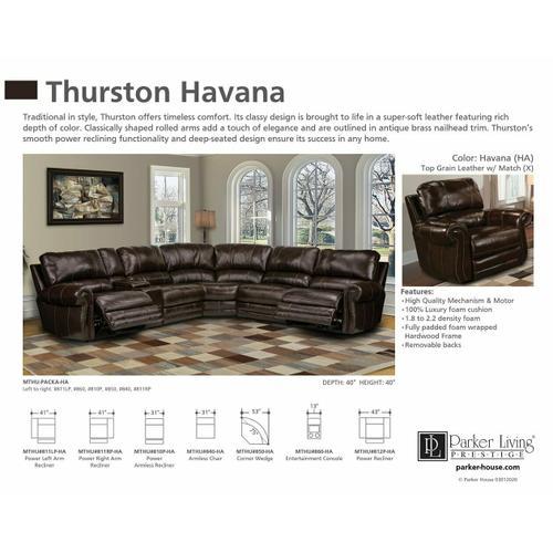 Parker House - THURSTON - HAVANA Power Right Arm Facing Recliner