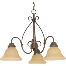 Castillo - 3 Light Chandelier with Champagne Linen Washed Glass - Sonoma Bronze Finish