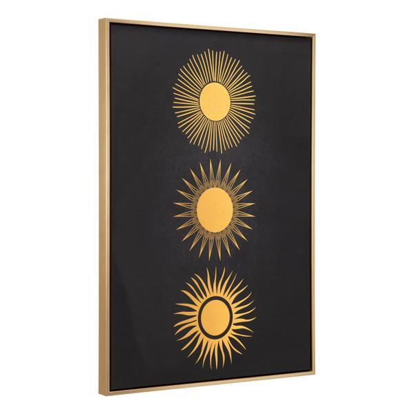 See Details - Three Suns Canvas Wall Art Gold & Black