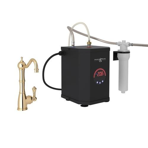 English Gold Perrin & Rowe Edwardian Column Spout Hot Water Faucet, Tank And Filter Kit with Traditional Metal Lever