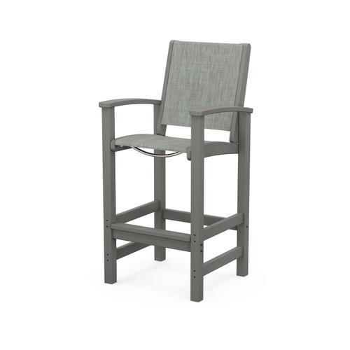 Polywood Furnishings - Coastal Bar Chair in Slate Grey / Birch Sling