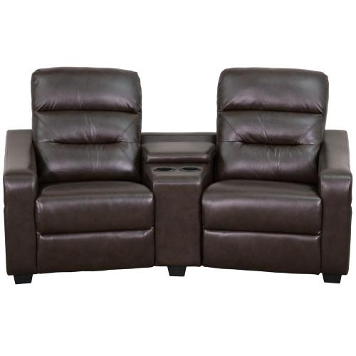 Alamont Furniture - 2-Seat Reclining Brown Leather Theater Seating Unit with Cup Holders