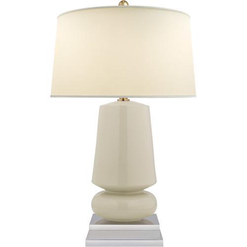 Visual Comfort - E. F. Chapman Parisienne 29 inch 150.00 watt Coconut Porcelain Table Lamp Portable Light, E.F. Chapman, Small, Natural Percale Shade