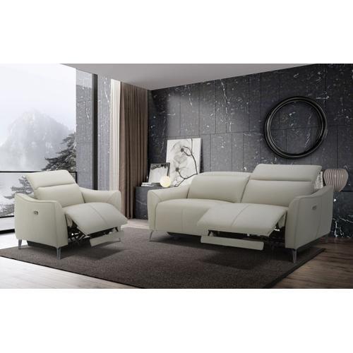 VIG Furniture - Divani Casa Prairie Modern Light Grey Leather Dual Electric Sofa Recliner with Electric Headrest
