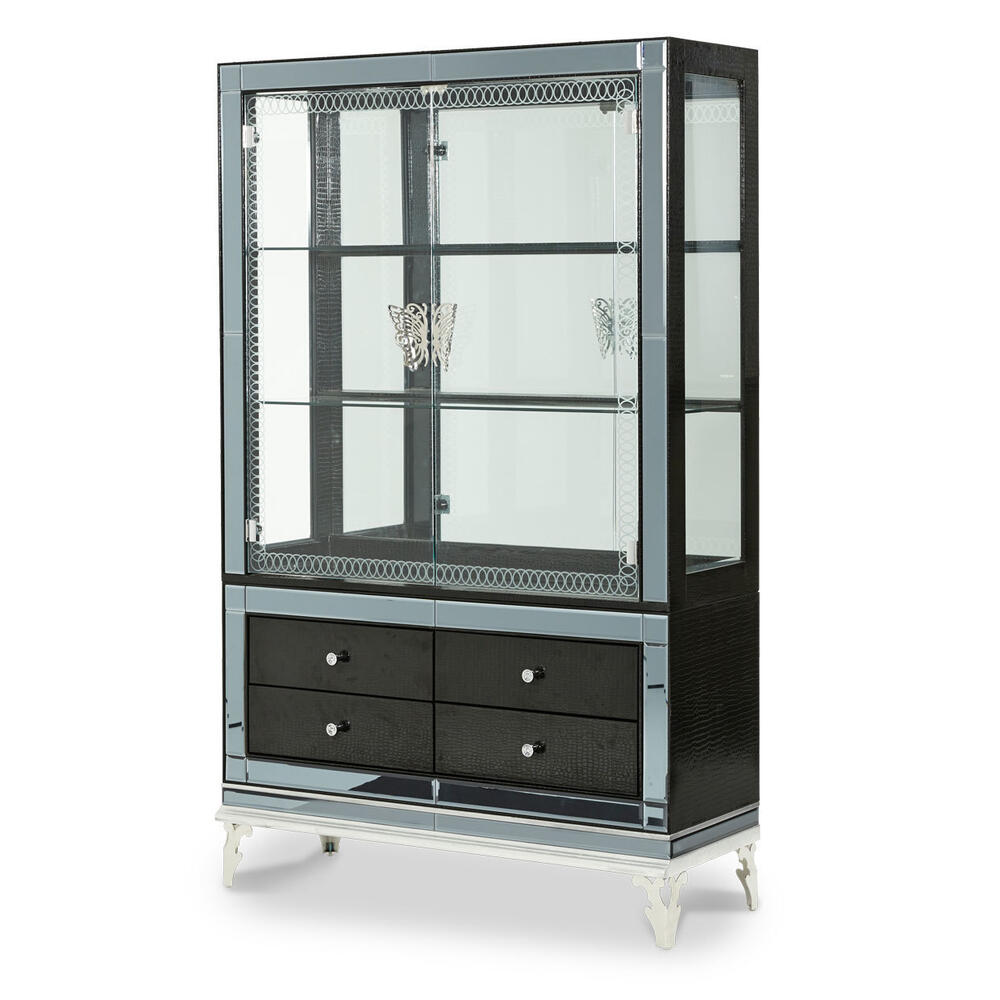 Hollywood Swank Curio W/drawer Front (2 Pc) Black Iguana