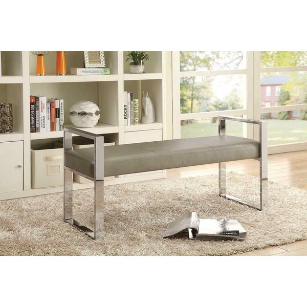 See Details - Contemporary Chrome and Champagne Bench