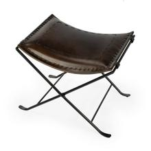 See Details - Leather meets iron for a simple seat. Ideal for any spot in your home. Great alone or in multiples. It's carefully stitched dark brown leather seat is supported by an understated black iron base that folds ealisy for storage.
