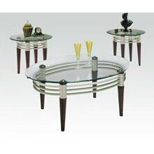 ACME Marseille 3Pc Coffee/End Table Set - 08137_KIT - Cherry - Silver & Clear Glass