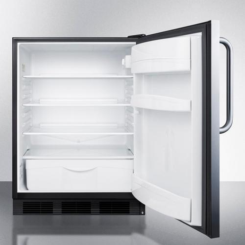 Product Image - Commercially Listed Freestanding All-refrigerator for General Purpose Use, Auto Defrost W/stainless Steel Wrapped Door, Towel Bar Handle, and Black Cabinet