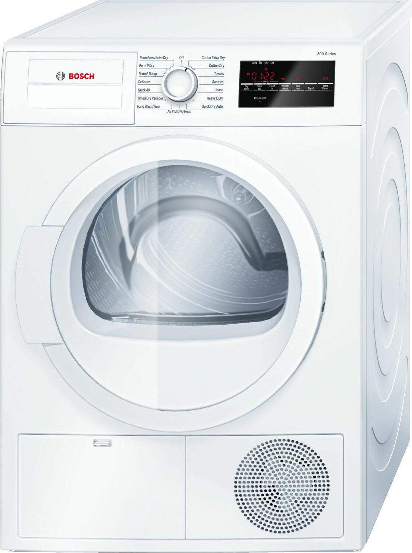 Bosch300 Series Cond. Dryer - 208/240v, Cap. 4.0 Cu.Ft., 15 Cyc.,67 Dba Galv.Drum, White/door Non-Rev.