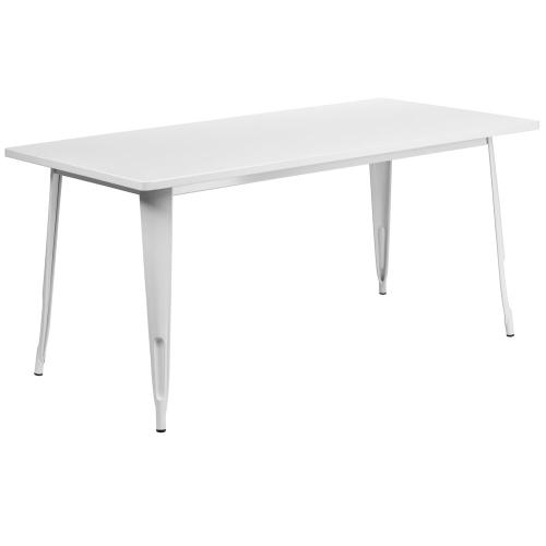 31.5'' x 63'' Rectangular White Metal Indoor-Outdoor Table