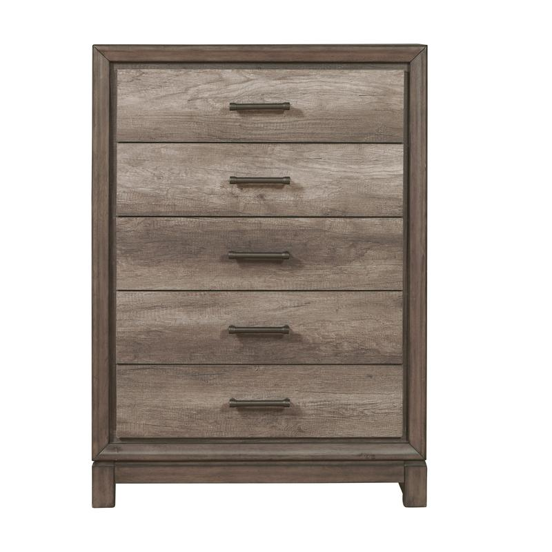 Hanover Square Five Drawer Chest in Elm Brown