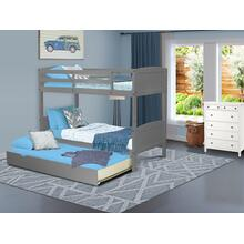 West Furniture Albury Twin Bunk Bed in Gray Finish with Convertible Trundle & Drawer