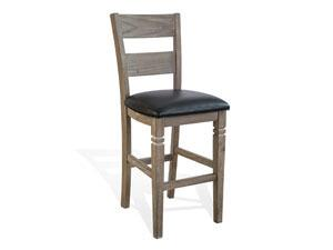 "30""H Pinehurst Ladderback Barstool, Cushion Seat"