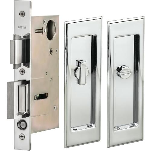 Pocket Door Lock with Traditional Rectangular Trim featuring Turnpiece and Emergency Release in (US26 Polished Chrome Plated)