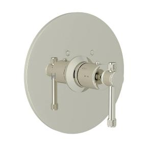 Campo Thermostatic Trim Plate without Volume Control - Polished Nickel with Industrial Metal Lever Handle