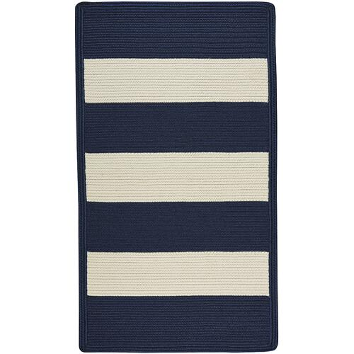 Cabana Stripes Navy Blue White Braided Rugs