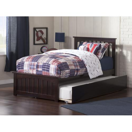 Atlantic Furniture - Mission Twin Bed with Matching Foot Board with Urban Trundle Bed in Espresso