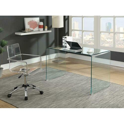 Contemporary Clear Glass Writing Desk