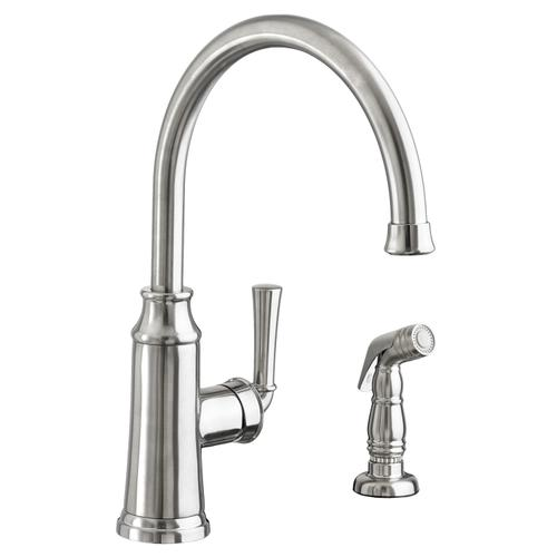 American Standard - Portsmouth 1-Handle High-Arc Kitchen Faucet with Side Spray - Stainless Steel