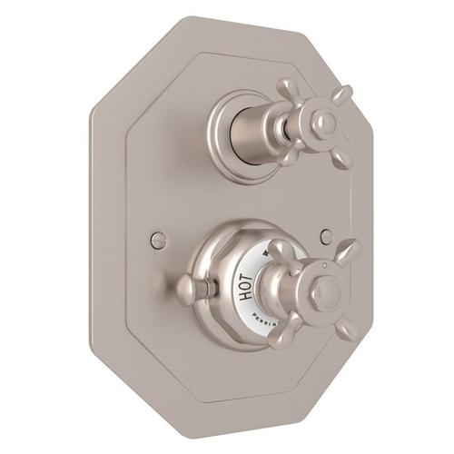 Satin Nickel Perrin & Rowe Edwardian Octagonal Concealed Thermostatic Trim With Volume Control with Edwardian Cross Handle