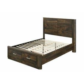 ACME Elettra Eastern King Bed (Storage) - 24197EK - Transitional - Wood (Rbw), Paper Veneer, LVL, MDF, PB - Rustic Walnut