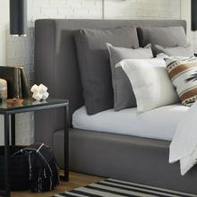 HEAVENLY - FLAX CHARCOAL Queen Headboard with Comfort Pillows 5/0