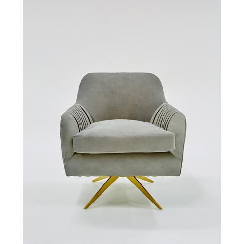 VIG Furniture - Divani Casa Abigail Modern Grey Velvet Swivel Accent Chair