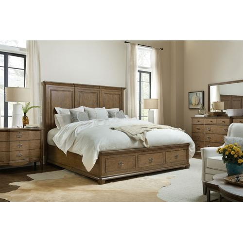 Bedroom Montebello King Wood Mansion Bed w/ Storage Footboard