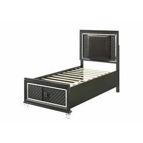 ACME Sawyer Twin Bed (Storage - 1 Drw) - 28280T - Glam, Contemporary - PU, LED HB, Wood (Solid Rbw, MDF, PB), Acrylic Leg, Sparkling Trim (Mirror Glass), Inside Drw: PU Veneer, - PU and Metallic Gray