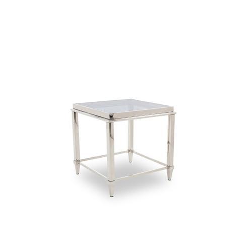 VIG Furniture - Modrest Agar Modern Glass & Stainless Steel End Table