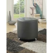 Contemporary Grey Round Ottoman Product Image