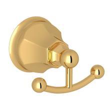 See Details - Palladian Wall Mount Double Robe Hook - Italian Brass