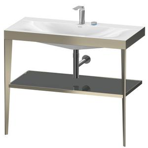 Duravit - Furniture Washbasin C-bonded With Metal Console Floorstanding, Flannel Gray High Gloss (lacquer)