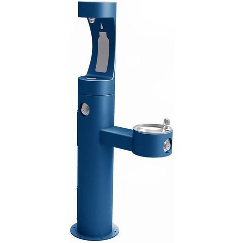Elkay - Elkay Outdoor ezH2O Bottle Filling Station Bi-Level Pedestal, Non-Filtered Non-Refrigerated Freeze Resistant Blue