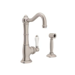 Cinquanta Single Hole Column Spout Kitchen Faucet with Sidespray - Satin Nickel with White Porcelain Lever Handle