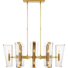 AERIN Alpine 16 Light 45 inch Hand-Rubbed Antique Brass Linear Chandelier Ceiling Light, Medium