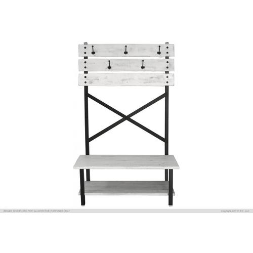 Hal Tree - Bench w/ hooks, White finish