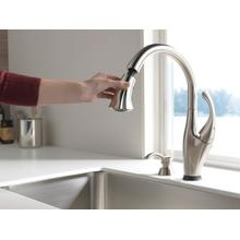 Stainless Single Handle Pull-Down Kitchen Faucet with Touch 2 O ® Technology and Soap Dispenser