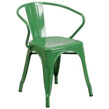 See Details - Green Metal Indoor-Outdoor Chair with Arms