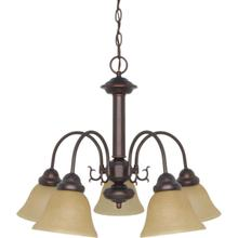 Ballerina - 5 Light Chandelier with Champagne Linen Washed Glass - Mahogany Bronze Finish