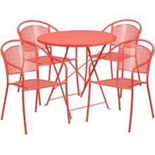 30'' Round Coral Indoor-Outdoor Steel Folding Patio Table Set with 4 Round Back Chairs